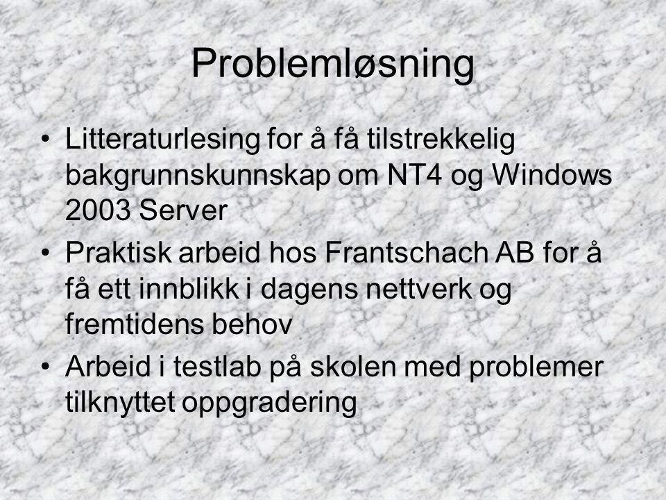 Problemløsning •Litteraturlesing for å få tilstrekkelig bakgrunnskunnskap om NT4 og Windows 2003 Server •Praktisk arbeid hos Frantschach AB for å få ett innblikk i dagens nettverk og fremtidens behov •Arbeid i testlab på skolen med problemer tilknyttet oppgradering