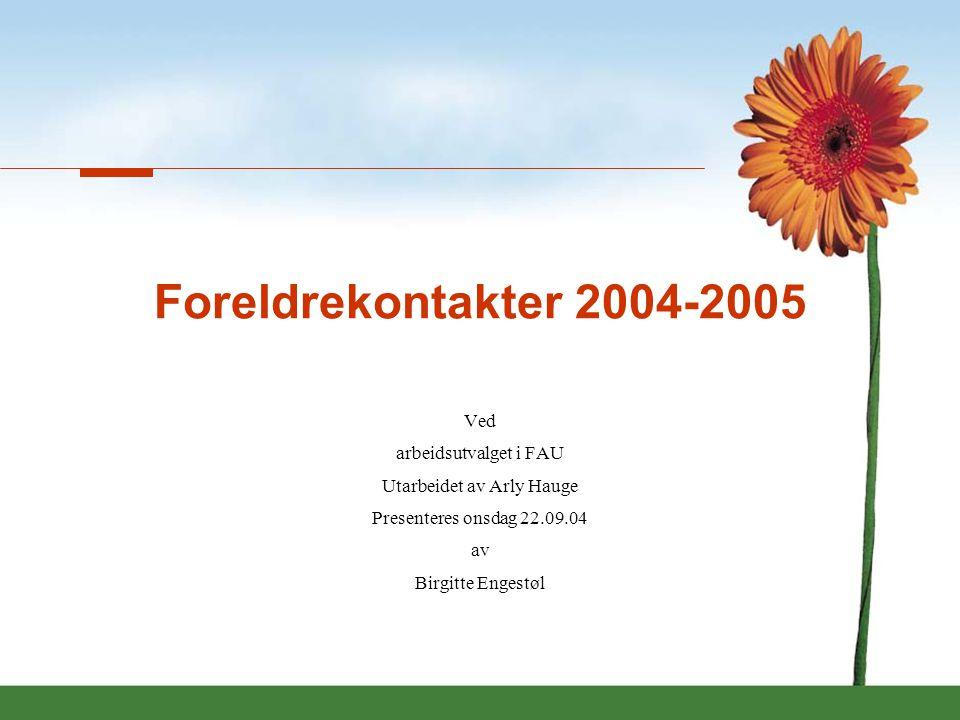 Innledning •Innledning •Oppgaver foreldrekontakter •Oppgaver arbeidsutvalg FAU •Valg av arbeidsutvalg for 2004-2005 •Økonomi og aktiviteter