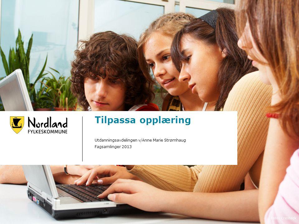 Tilpassa opplæring Utdanningsavdelingen v/Anne Marie Strømhaug Fagsamlinger 2013 Foto: Crestock