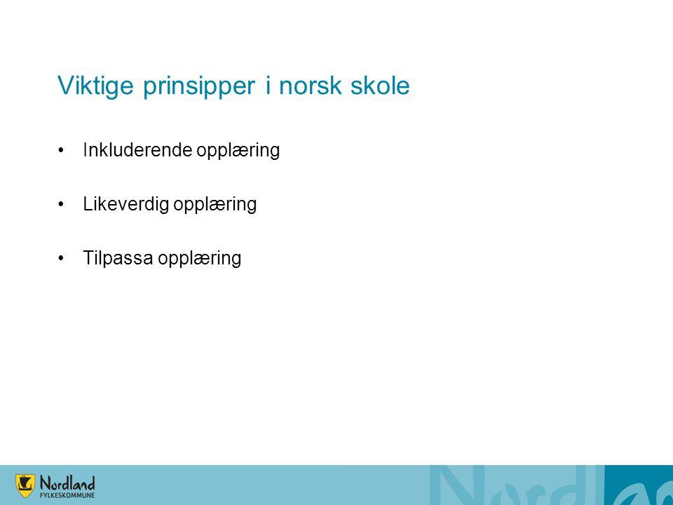 Viktige prinsipper i norsk skole •Inkluderende opplæring •Likeverdig opplæring •Tilpassa opplæring