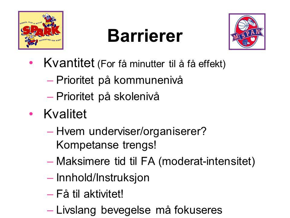 Barrierer •Kvantitet (For få minutter til å få effekt) –Prioritet på kommunenivå –Prioritet på skolenivå •Kvalitet –Hvem underviser/organiserer? Kompe