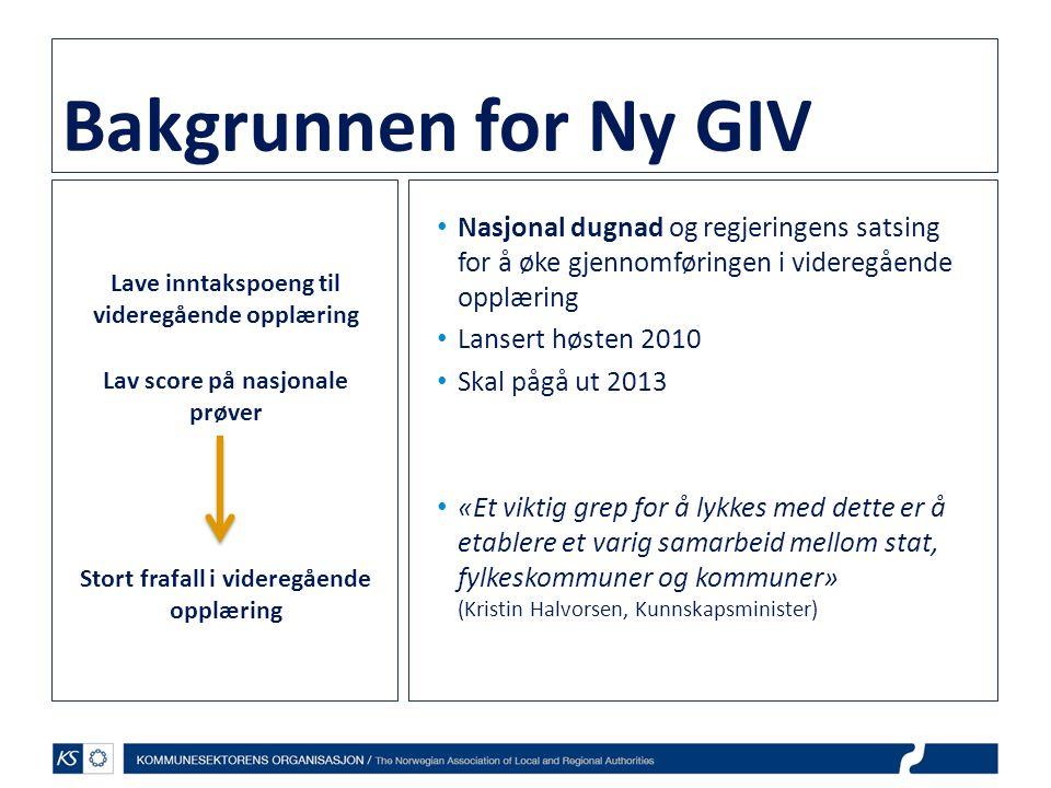 Bakgrunnen for Ny GIV • Nasjonal dugnad og regjeringens satsing for å øke gjennomføringen i videregående opplæring • Lansert høsten 2010 • Skal pågå u