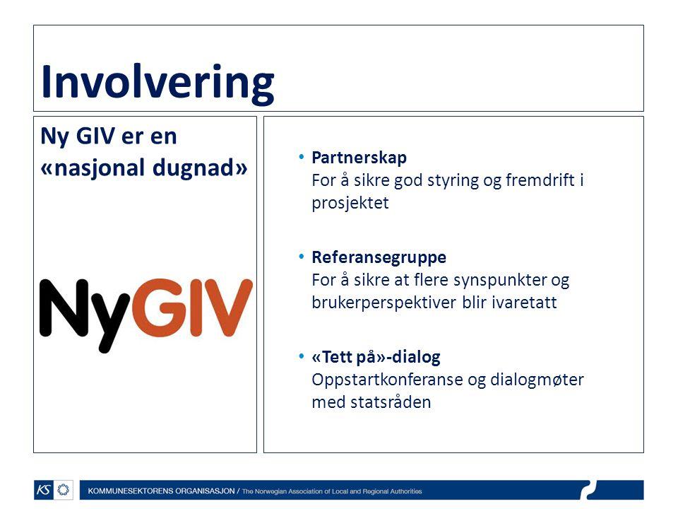 Involvering Ny GIV er en «nasjonal dugnad» • Partnerskap For å sikre god styring og fremdrift i prosjektet • Referansegruppe For å sikre at flere synspunkter og brukerperspektiver blir ivaretatt • «Tett på»-dialog Oppstartkonferanse og dialogmøter med statsråden