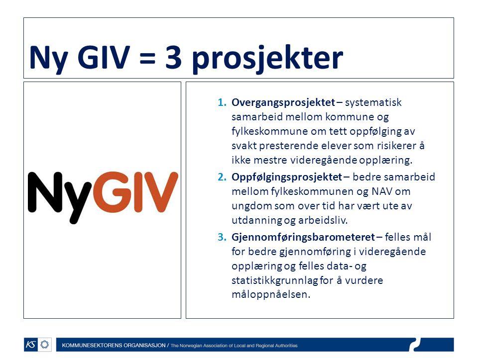 Ny GIV = 3 prosjekter 1.Overgangsprosjektet – systematisk samarbeid mellom kommune og fylkeskommune om tett oppfølging av svakt presterende elever som risikerer å ikke mestre videregående opplæring.