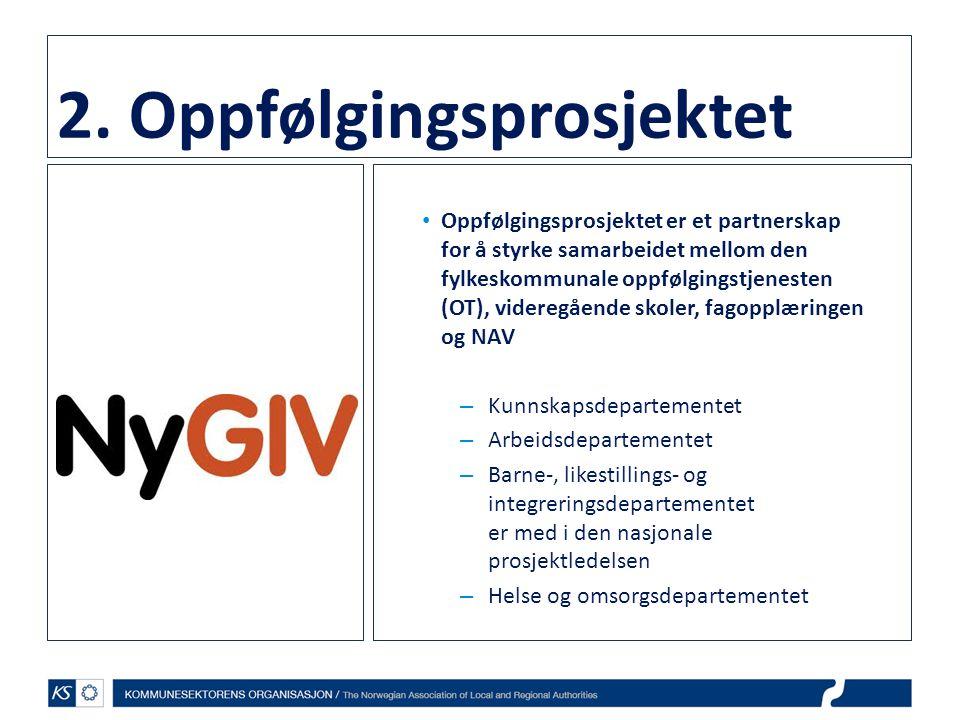 2. Oppfølgingsprosjektet • Oppfølgingsprosjektet er et partnerskap for å styrke samarbeidet mellom den fylkeskommunale oppfølgingstjenesten (OT), vide