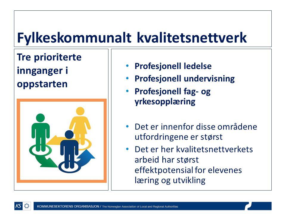 Fylkeskommunalt kvalitetsnettverk Tre prioriterte innganger i oppstarten • Profesjonell ledelse • Profesjonell undervisning • Profesjonell fag- og yrk