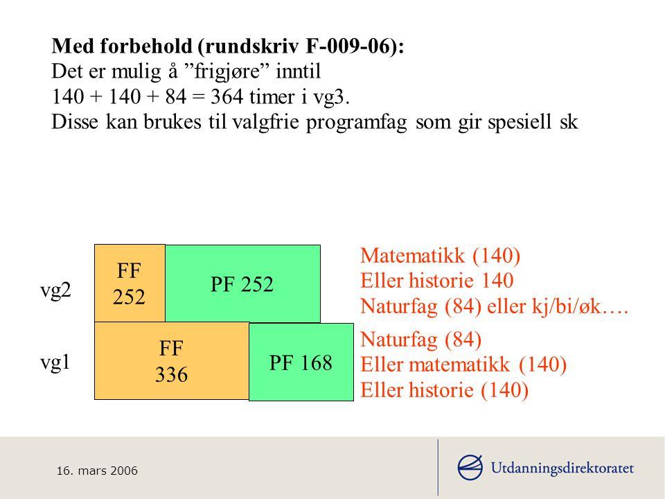 16. mars 2006 ANDRE vg3 Naturbruk Andre yf up Felles programfag Drift av fartøy Fangst og redskap Felles programfag naturbruk Naturbasert produksjon N