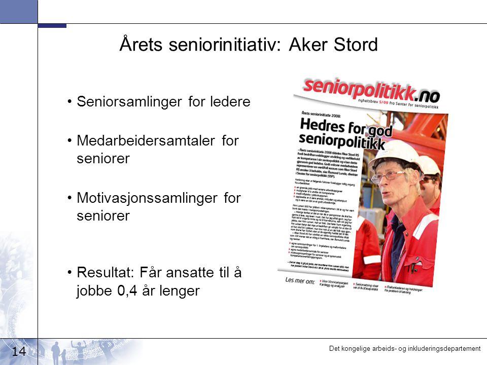 14 Det kongelige arbeids- og inkluderingsdepartement Årets seniorinitiativ: Aker Stord •Seniorsamlinger for ledere •Medarbeidersamtaler for seniorer •