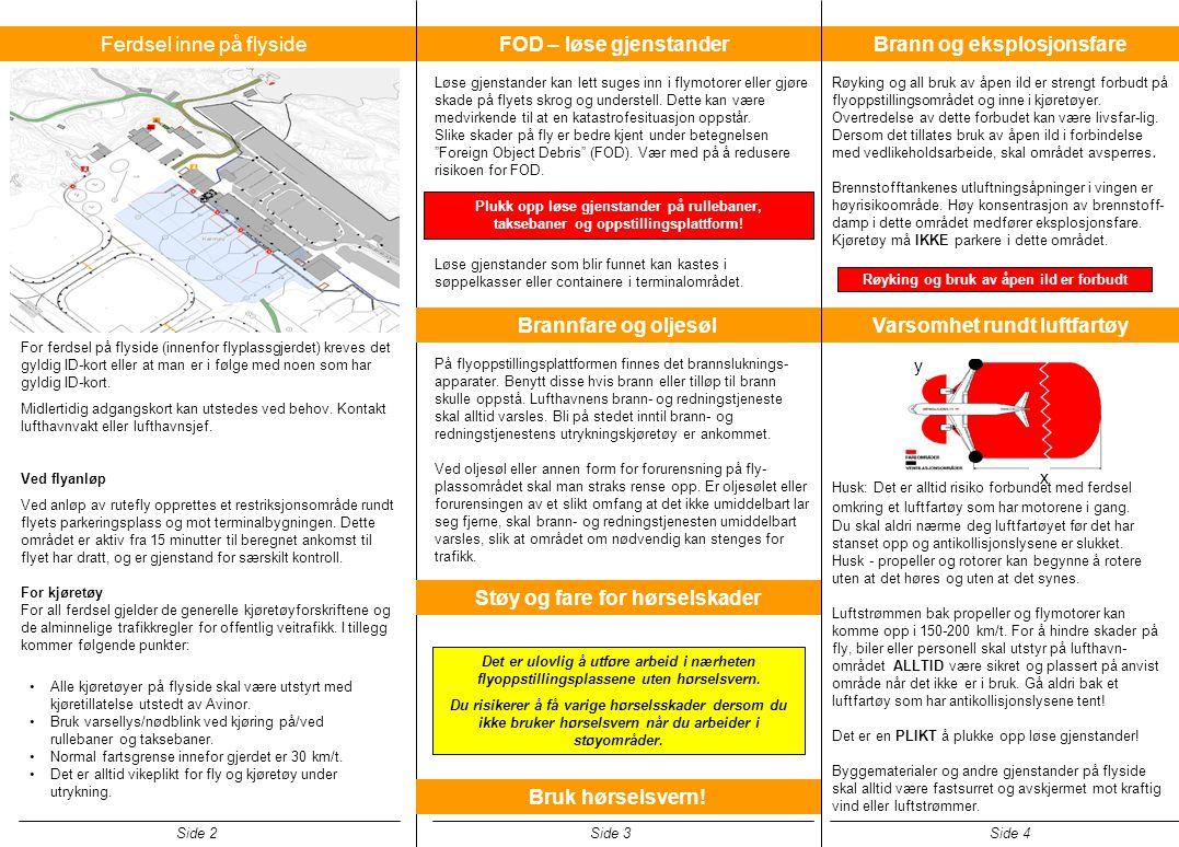 Brann og eksplosjonsfare Røyking og all bruk av åpen ild er strengt forbudt på flyoppstillingsområdet og inne i kjøretøyer. Overtredelse av dette forb