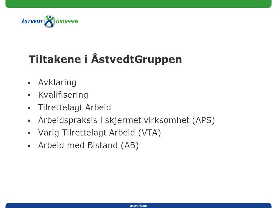 Tiltakene i ÅstvedtGruppen  Avklaring  Kvalifisering  Tilrettelagt Arbeid  Arbeidspraksis i skjermet virksomhet (APS)  Varig Tilrettelagt Arbeid