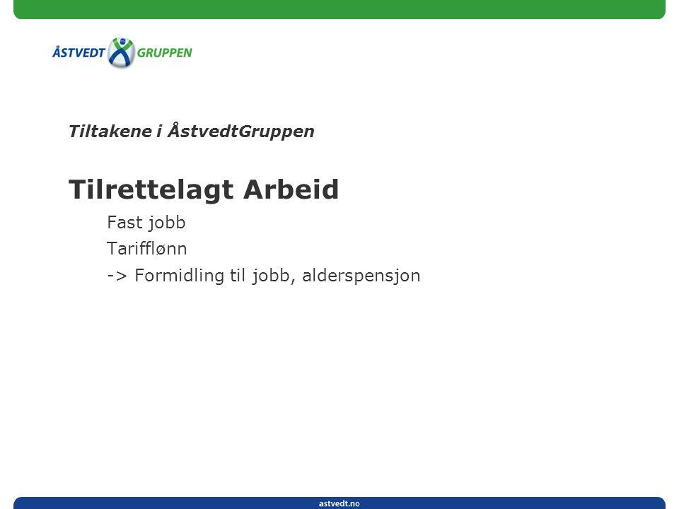 Tiltakene i ÅstvedtGruppen Tilrettelagt Arbeid Fast jobb Tarifflønn -> Formidling til jobb, alderspensjon