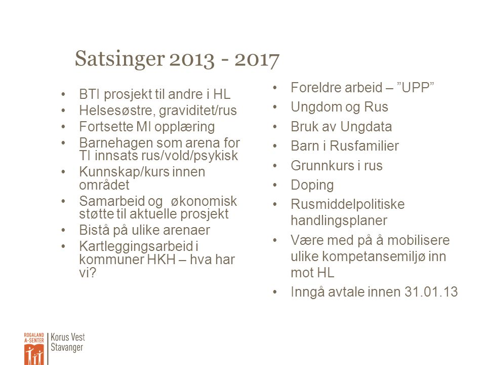 Satsinger 2013 - 2017 •BTI prosjekt til andre i HL •Helsesøstre, graviditet/rus •Fortsette MI opplæring •Barnehagen som arena for TI innsats rus/vold/