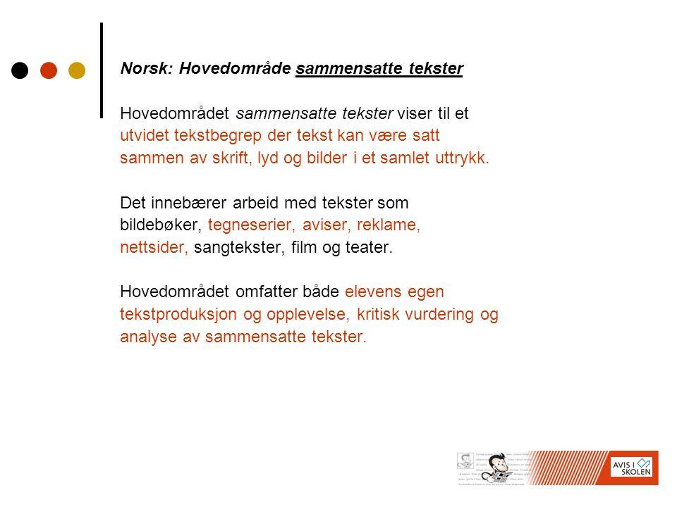 Norsk: Hovedområde sammensatte tekster Hovedområdet sammensatte tekster viser til et utvidet tekstbegrep der tekst kan være satt sammen av skrift, lyd og bilder i et samlet uttrykk.