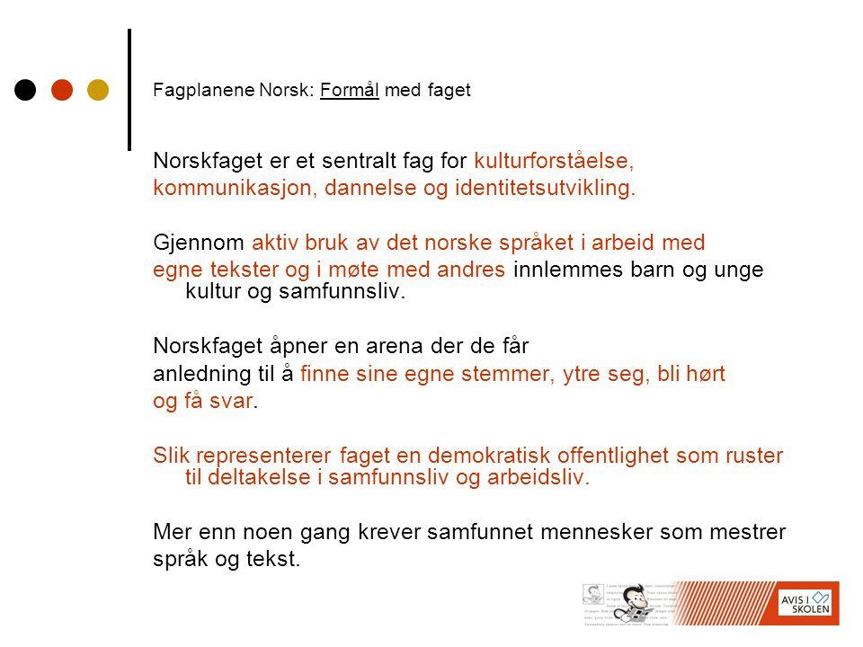 Fagplanene Norsk: Formål med faget Norskfaget er et sentralt fag for kulturforståelse, kommunikasjon, dannelse og identitetsutvikling.