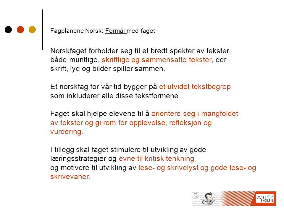 Fagplanene Norsk: Formål med faget Norskfaget forholder seg til et bredt spekter av tekster, både muntlige, skriftlige og sammensatte tekster, der skrift, lyd og bilder spiller sammen.