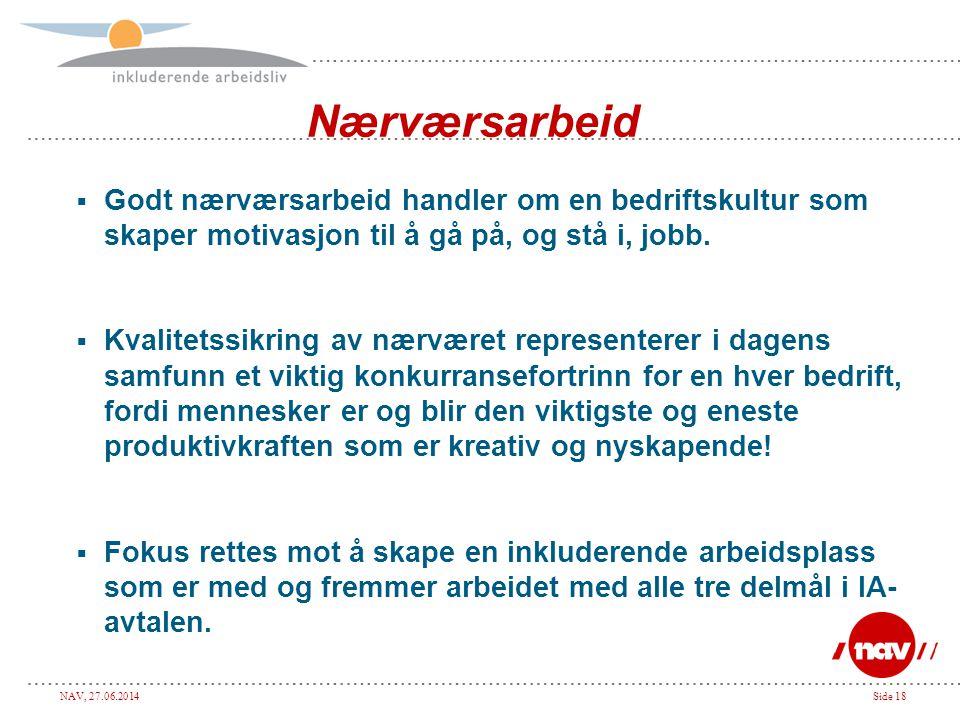 NAV, 27.06.2014Side 18 Nærværsarbeid  Godt nærværsarbeid handler om en bedriftskultur som skaper motivasjon til å gå på, og stå i, jobb.  Kvalitetss
