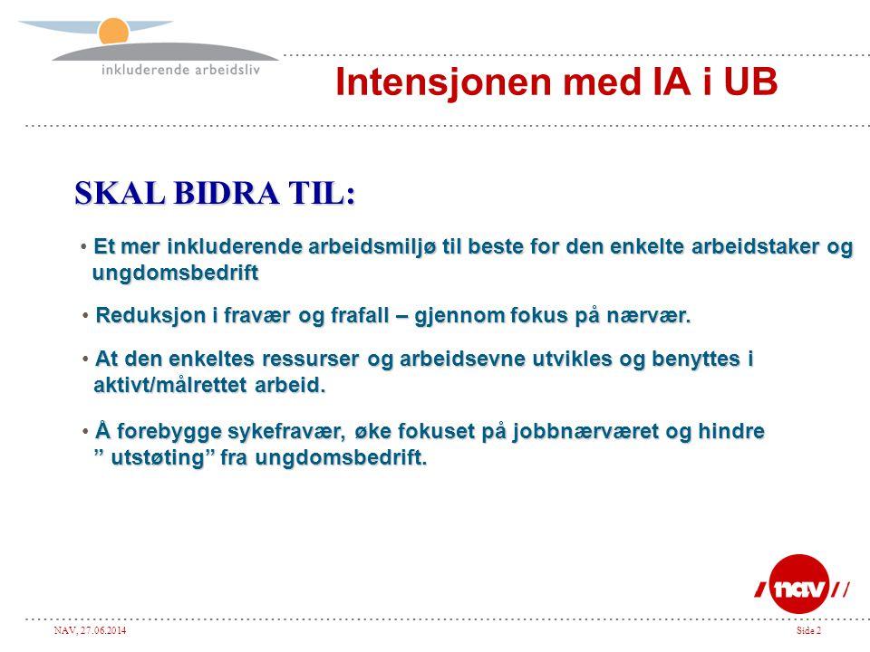NAV, 27.06.2014Side 2 Intensjonen med IA i UB SKAL BIDRA TIL: Et mer inkluderende arbeidsmiljø til beste for den enkelte arbeidstaker og • Et mer inkl