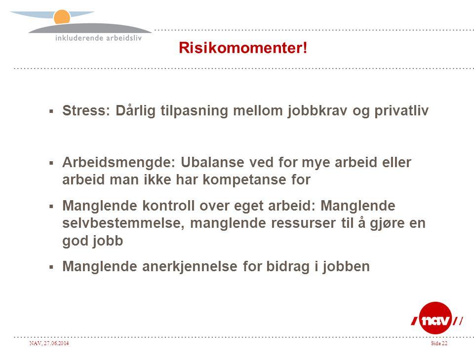 NAV, 27.06.2014Side 22 Risikomomenter!  Stress: Dårlig tilpasning mellom jobbkrav og privatliv  Arbeidsmengde: Ubalanse ved for mye arbeid eller arb