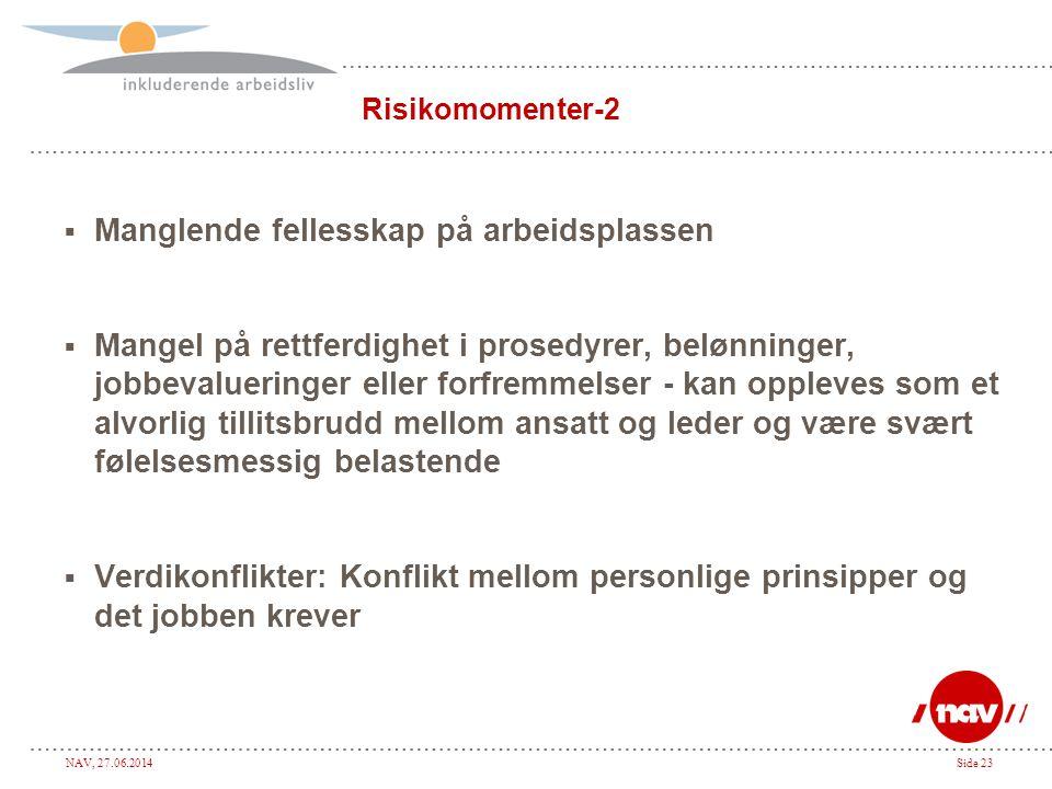 NAV, 27.06.2014Side 23 Risikomomenter-2  Manglende fellesskap på arbeidsplassen  Mangel på rettferdighet i prosedyrer, belønninger, jobbevalueringer