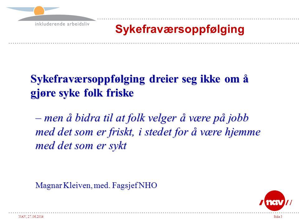 NAV, 27.06.2014Side 24 FriskSyk Nærværsfaktorer (Motivasjonsfaktorer) Fraværsfaktorer