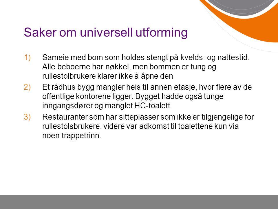 Saker om universell utforming 1)Sameie med bom som holdes stengt på kvelds- og nattestid. Alle beboerne har nøkkel, men bommen er tung og rullestolbru