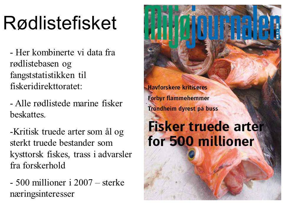 - Her kombinerte vi data fra rødlistebasen og fangststatistikken til fiskeridirekttoratet: - Alle rødlistede marine fisker beskattes.
