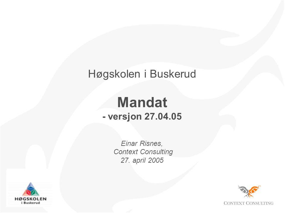 Høgskolen i Buskerud Mandat - versjon 27.04.05 Einar Risnes, Context Consulting 27. april 2005