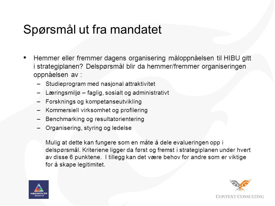 Spørsmål ut fra mandatet • Hemmer eller fremmer dagens organisering måloppnåelsen til HIBU gitt i strategiplanen.