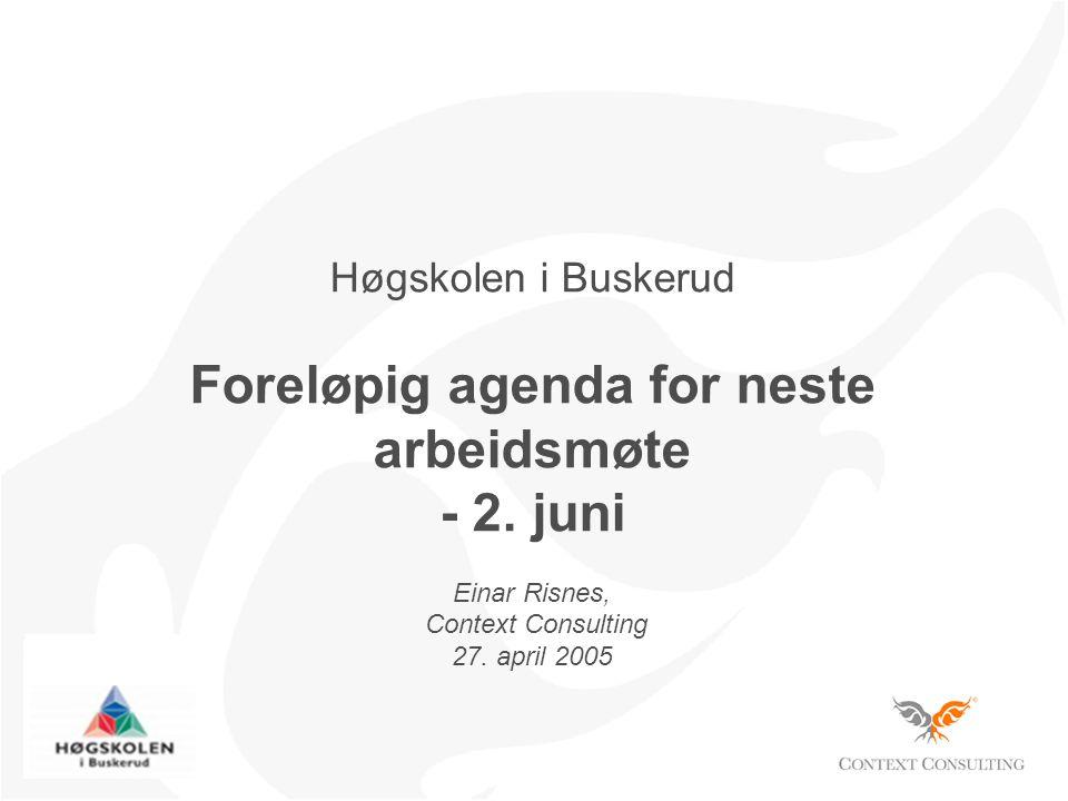 Høgskolen i Buskerud Foreløpig agenda for neste arbeidsmøte - 2.