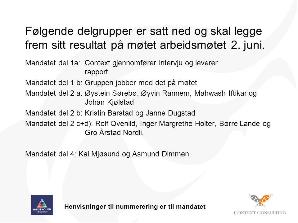Følgende delgrupper er satt ned og skal legge frem sitt resultat på møtet arbeidsmøtet 2.