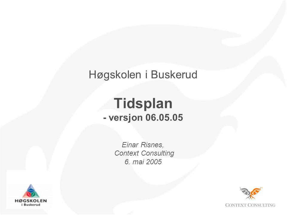 Høgskolen i Buskerud Tidsplan - versjon 06.05.05 Einar Risnes, Context Consulting 6. mai 2005