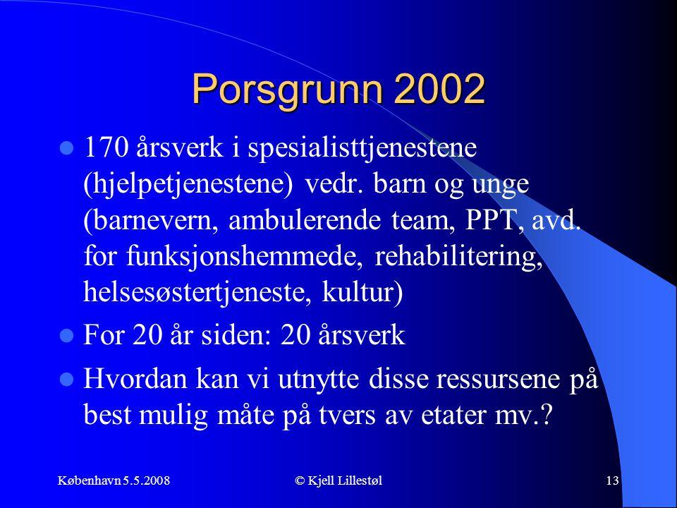 København 5.5.2008© Kjell Lillestøl13 Porsgrunn 2002  170 årsverk i spesialisttjenestene (hjelpetjenestene) vedr. barn og unge (barnevern, ambulerend