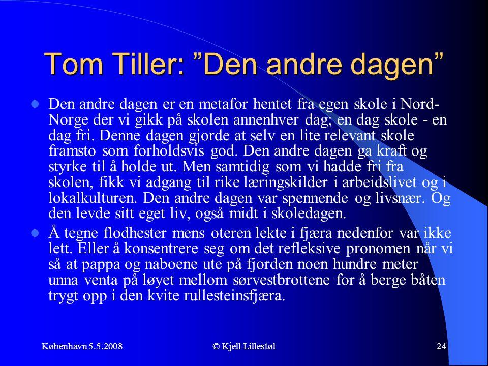 """København 5.5.2008© Kjell Lillestøl24 Tom Tiller: """"Den andre dagen""""  Den andre dagen er en metafor hentet fra egen skole i Nord- Norge der vi gikk på"""