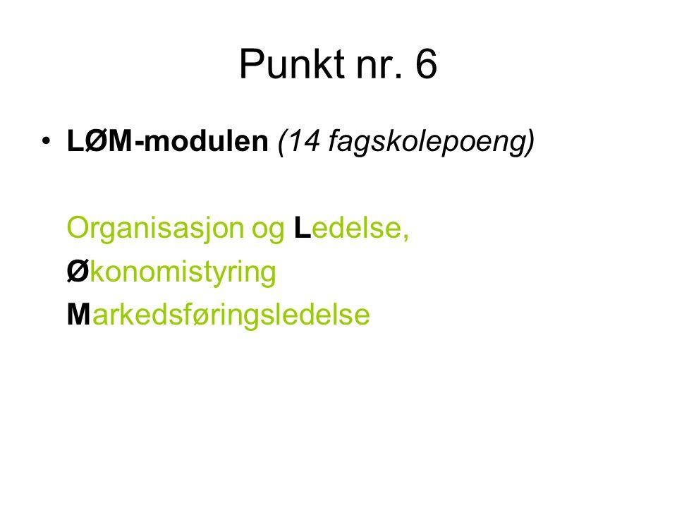 Punkt nr. 6 •LØM-modulen (14 fagskolepoeng) Organisasjon og Ledelse, Økonomistyring Markedsføringsledelse