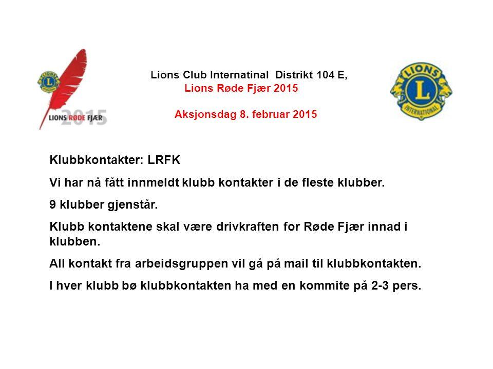 Lions Club Internatinal Distrikt 104 E, Lions Røde Fjær 2015 Aksjonsdag 8.