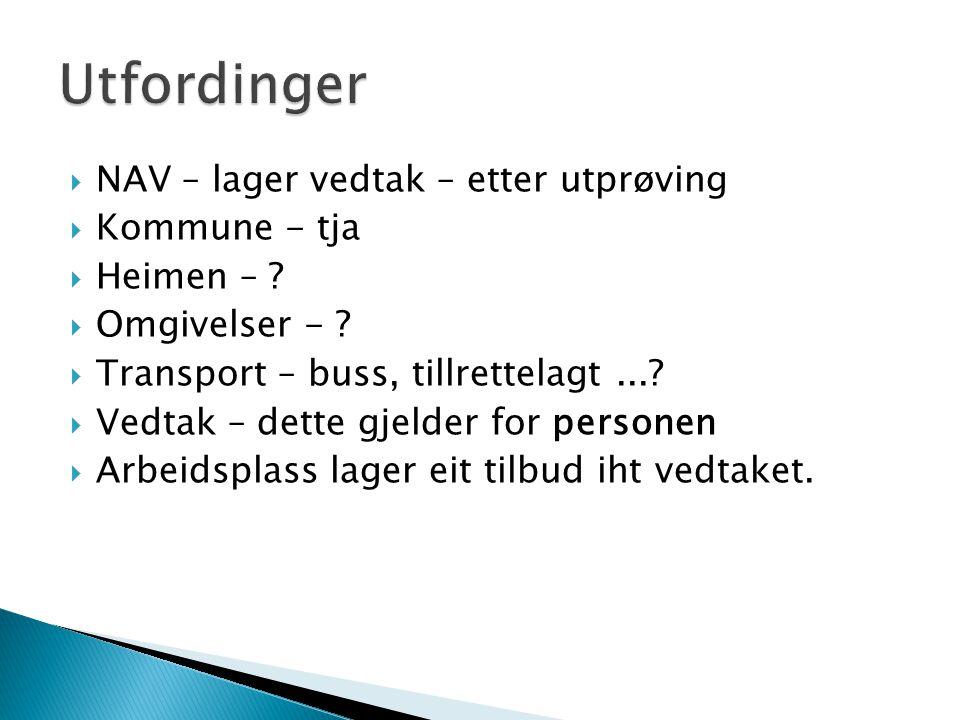  NAV – lager vedtak – etter utprøving  Kommune - tja  Heimen – .