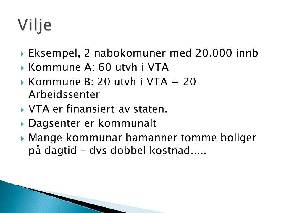  Eksempel, 2 nabokomuner med 20.000 innb  Kommune A: 60 utvh i VTA  Kommune B: 20 utvh i VTA + 20 Arbeidssenter  VTA er finansiert av staten.