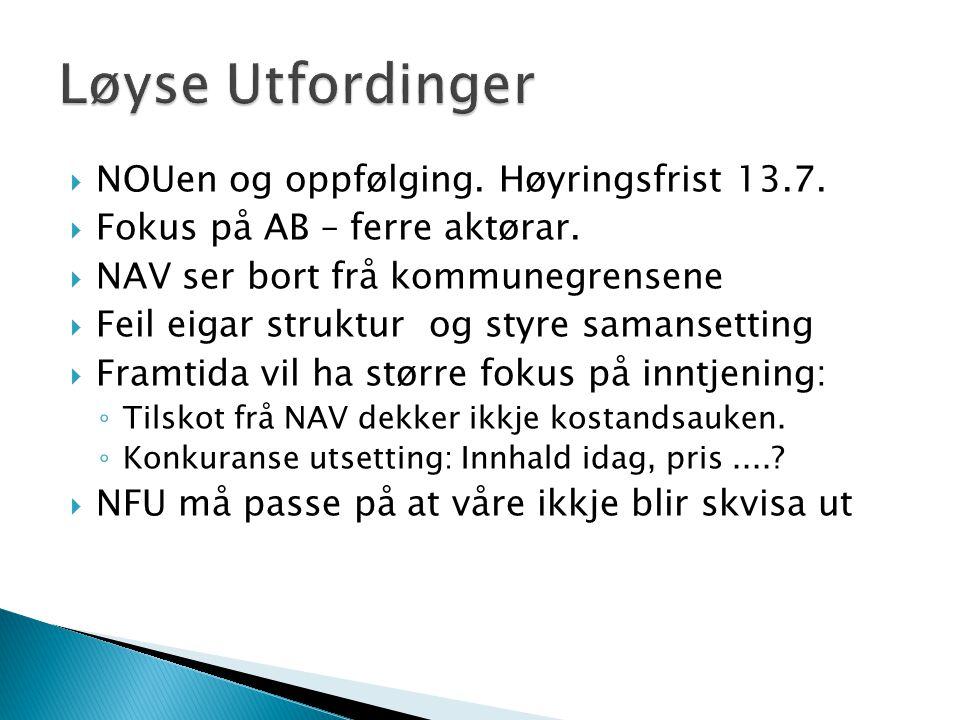 NOUen og oppfølging. Høyringsfrist 13.7.  Fokus på AB – ferre aktørar.