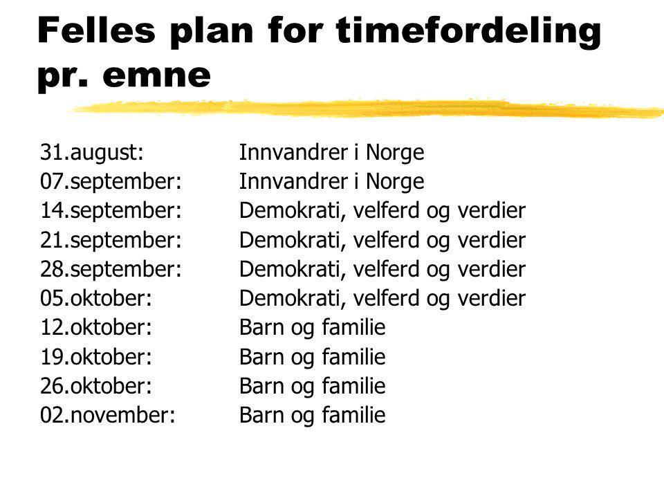 Felles plan for timefordeling pr. emne 31.august: Innvandrer i Norge 07.september: Innvandrer i Norge 14.september:Demokrati, velferd og verdier 21.se