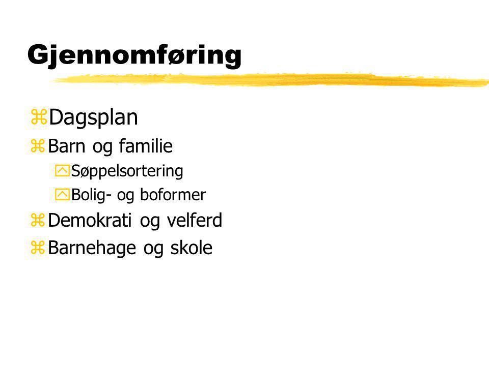 Gjennomføring zDagsplan zBarn og familie ySøppelsortering yBolig- og boformer zDemokrati og velferd zBarnehage og skole