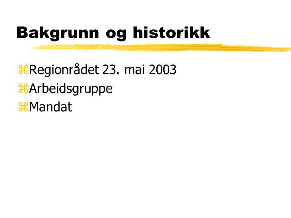 Bakgrunn og historikk zRegionrådet 23. mai 2003 zArbeidsgruppe zMandat