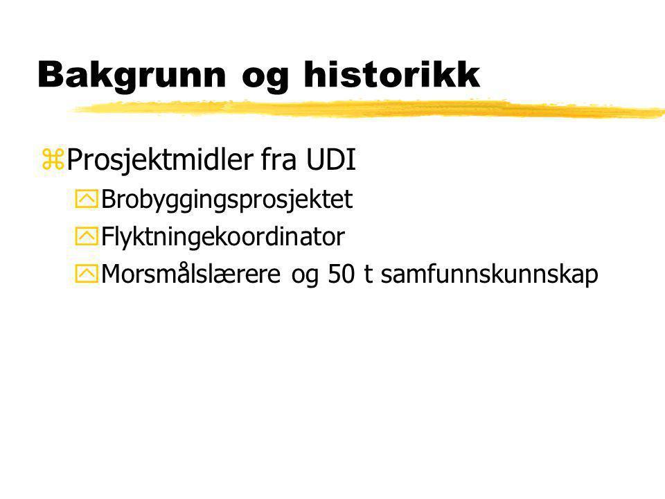 Bakgrunn og historikk zProsjektmidler fra UDI yBrobyggingsprosjektet yFlyktningekoordinator yMorsmålslærere og 50 t samfunnskunnskap