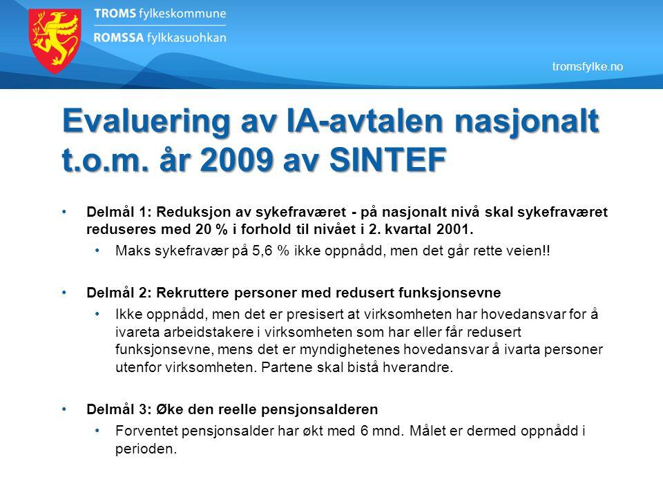 tromsfylke.no Evaluering av IA-avtalen nasjonalt t.o.m. år 2009 av SINTEF •Delmål 1: Reduksjon av sykefraværet - på nasjonalt nivå skal sykefraværet r