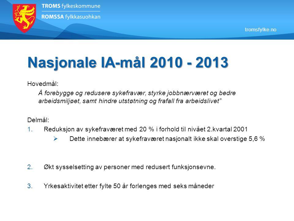 tromsfylke.no Nasjonale IA-mål 2010 - 2013 Hovedmål: Å forebygge og redusere sykefravær, styrke jobbnærværet og bedre arbeidsmiljøet, samt hindre utst