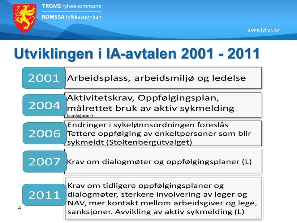 tromsfylke.no Utviklingen i IA-avtalen 2001 - 2011 4