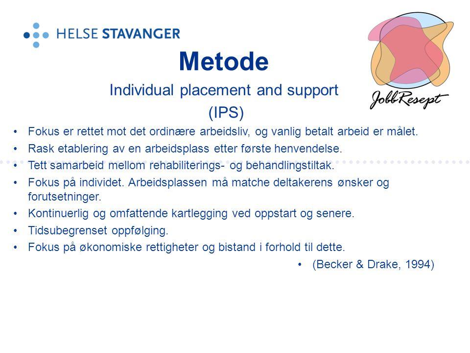 Metode Individual placement and support (IPS) •Fokus er rettet mot det ordinære arbeidsliv, og vanlig betalt arbeid er målet. •Rask etablering av en a