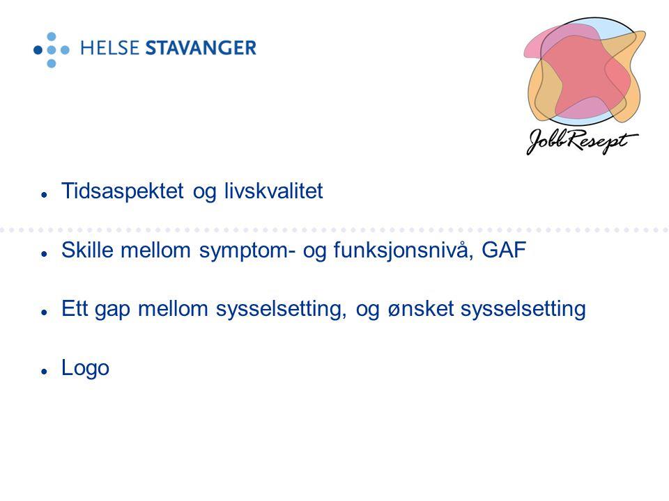 Tidsaspektet og livskvalitet  Skille mellom symptom- og funksjonsnivå, GAF  Ett gap mellom sysselsetting, og ønsket sysselsetting  Logo