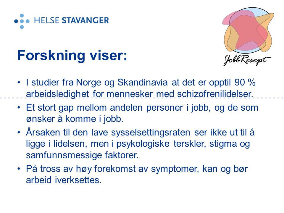 •I studier fra Norge og Skandinavia at det er opptil 90 % arbeidsledighet for mennesker med schizofrenilidelser. •Et stort gap mellom andelen personer