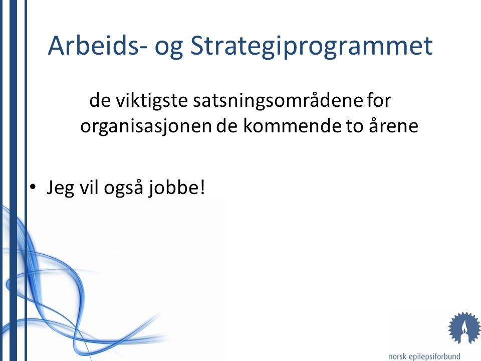 Arbeids- og Strategiprogrammet de viktigste satsningsområdene for organisasjonen de kommende to årene • Jeg vil også jobbe!