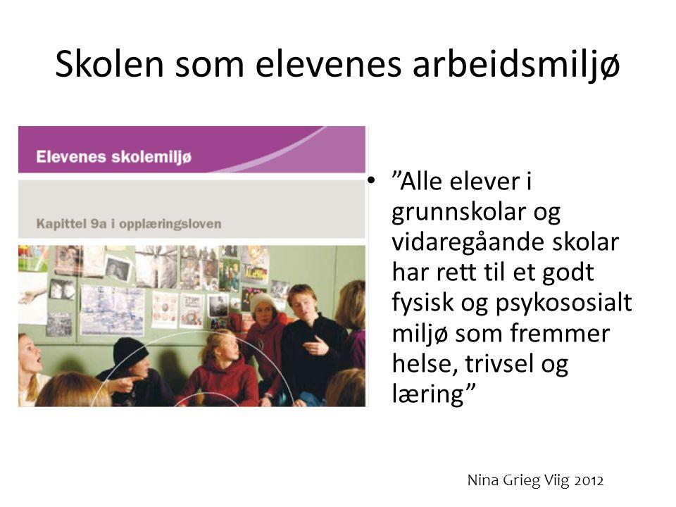 Skolen som elevenes arbeidsmiljø • Alle elever i grunnskolar og vidaregåande skolar har rett til et godt fysisk og psykososialt miljø som fremmer helse, trivsel og læring Nina Grieg Viig 2012